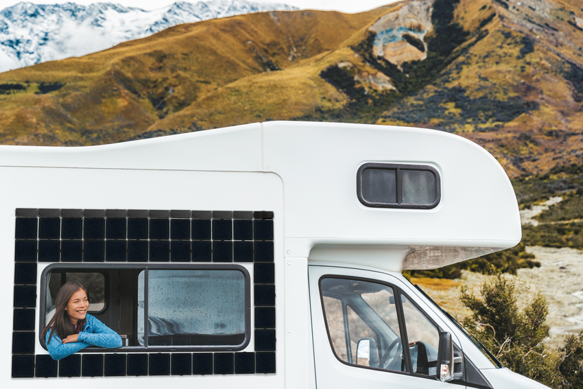 Square Solar panels on an RV.