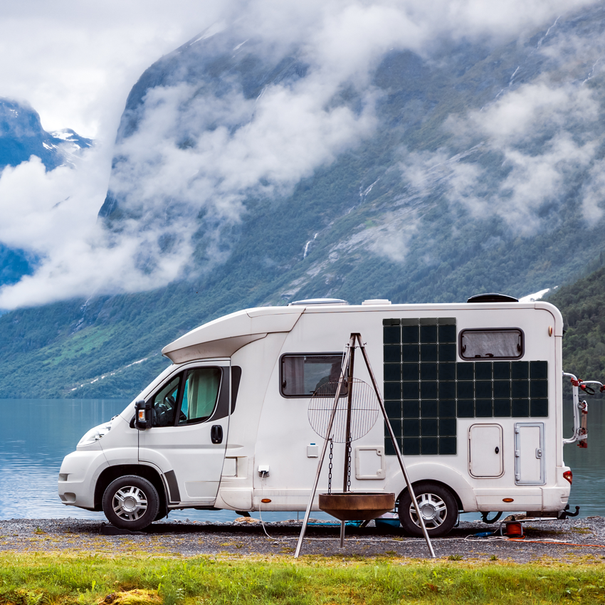 Square Solar panels on an RV